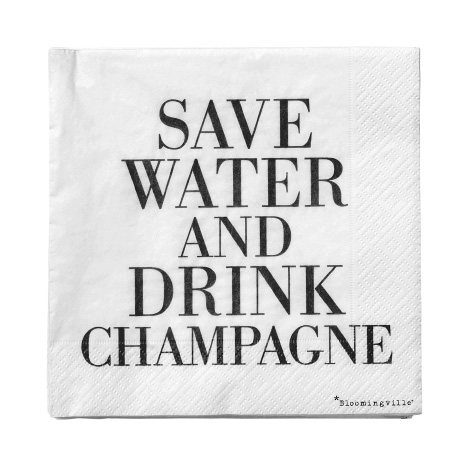 20 Serviettes en papier Save water and drink champagne blanche Bloomingville