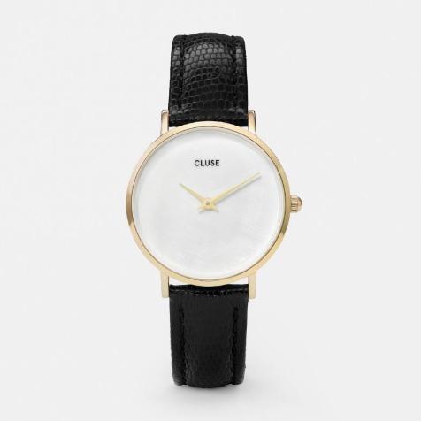 Montre Minuit La Perle Black Lizard gold blanc perle Cluse