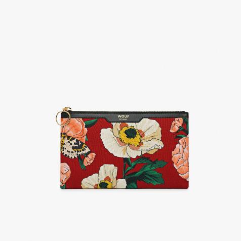 Petite pochette Jardin rouge et beige Wouf