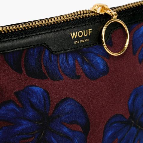 Petite pochette Leaves rouge et bleu Wouf