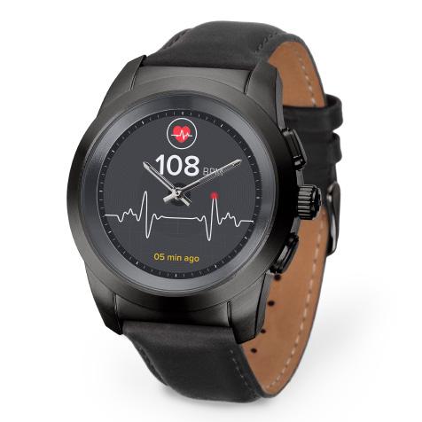 ZeTime Premium regular cadran métal noir brossé bracelet cuir noir MyKronoz