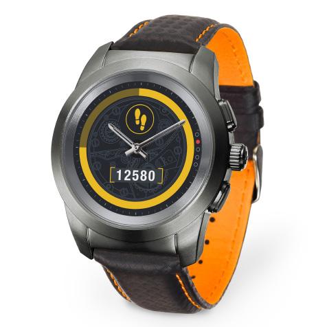 ZeTime Premium regular cadran métal argent brossé carbone bracelet cuir noir couture orange MyKronoz