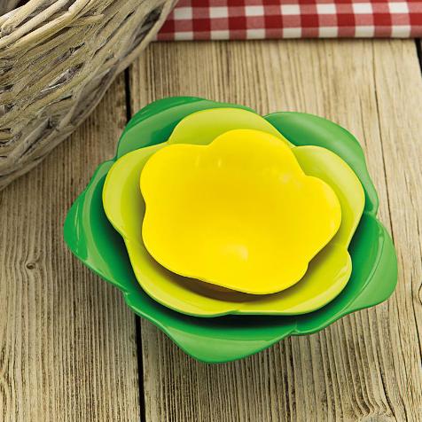 Set de 4 bols et pots Rose vert et jaune Zak Designs