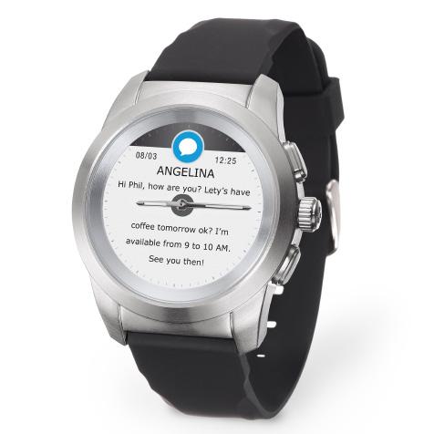 ZeTime Original regular cadran métal argent brossé bracelet silicone noir MyKronoz
