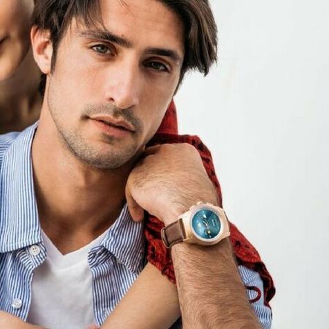ZeTime Premium regular cadran métal or rose brossé bracelet cuir marron MyKronoz