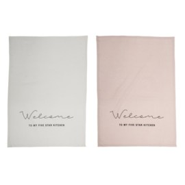 Set de 2 torchons de cuisine rose et blanc Welcome in my 5 star kitchen Bloomingville