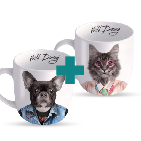 Comme chien et chat : lot de deux mugs décorés Just Mustard