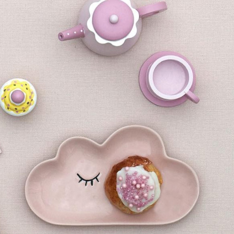 Assiette pour enfant nuage rose Smilla Bloomingville