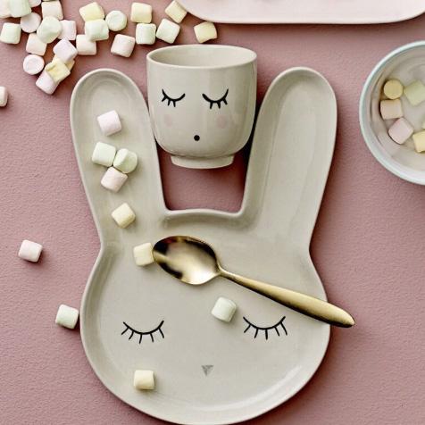 Assiette pour enfant lapin beige Smilla Bloomingville