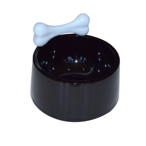 Gamelle pour chien noire os blanc Invotis