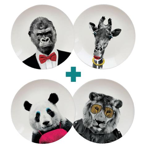 Kit Zoo : ensemble de 4 assiettes Wild Dining