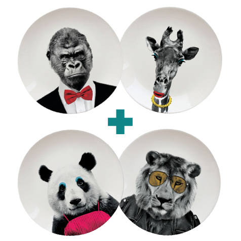 Kit Zoo : ensemble de 4 assiettes Wild Dining