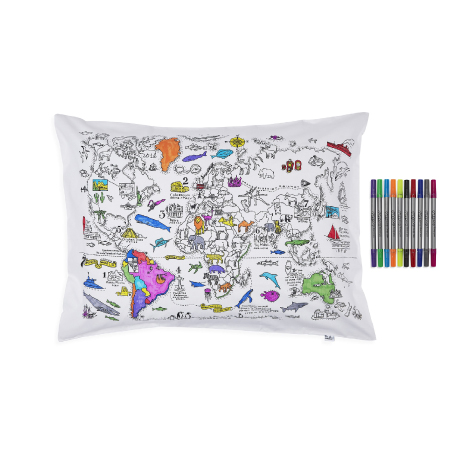 Taie d'oreiller carte du monde à colorier Doodle Craenen