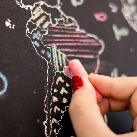 Carte du monde à colorier à la craie Craenen