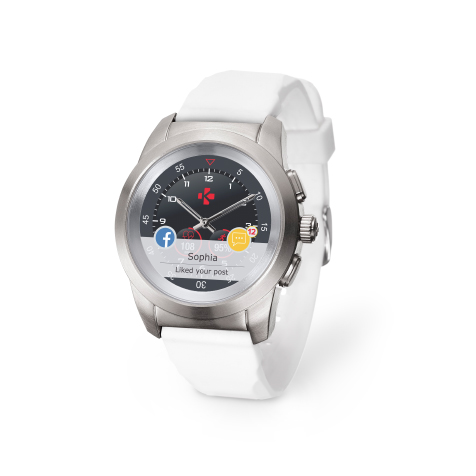 ZeTime Original Petite cadran métal argent brossé bracelet silicone blanc MyKronoz