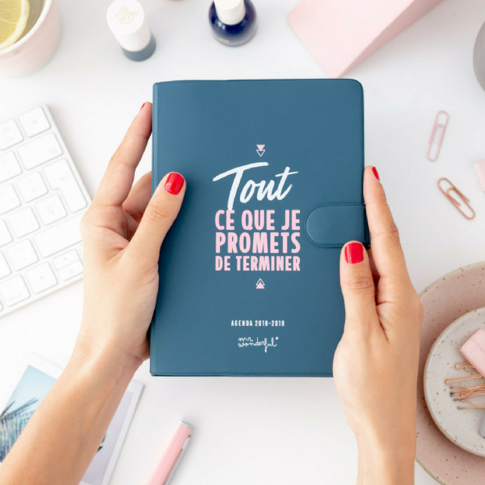 Agenda classique petit format 2018-2019 journalier Tout ce que je promets de terminer Mr Wonderful