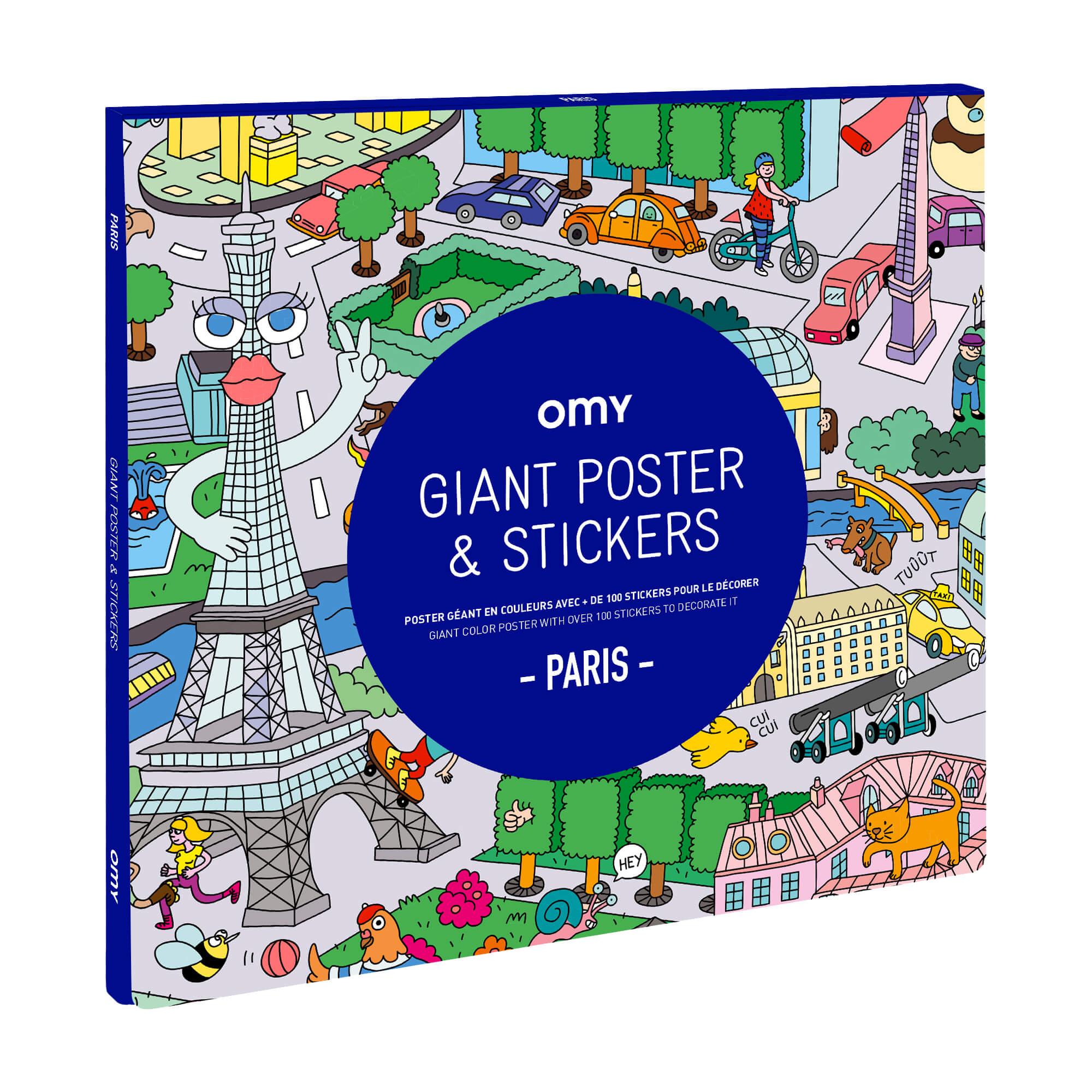Poster à colorier géant + Stickers PARIS by OMY