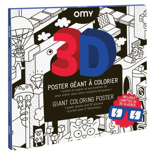 Poster 3D Géant (70x100cm) à colorier VIDEO GAMES by OMY
