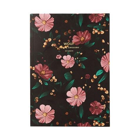 Cahier original ligné – Format A5 – Black Flowers by WOUF
