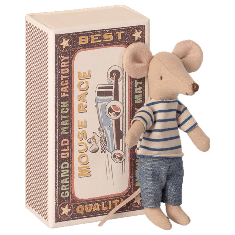 Mice in a Matchbox by Maileg Petite souris Grand Frère dans sa Boite d'allumette