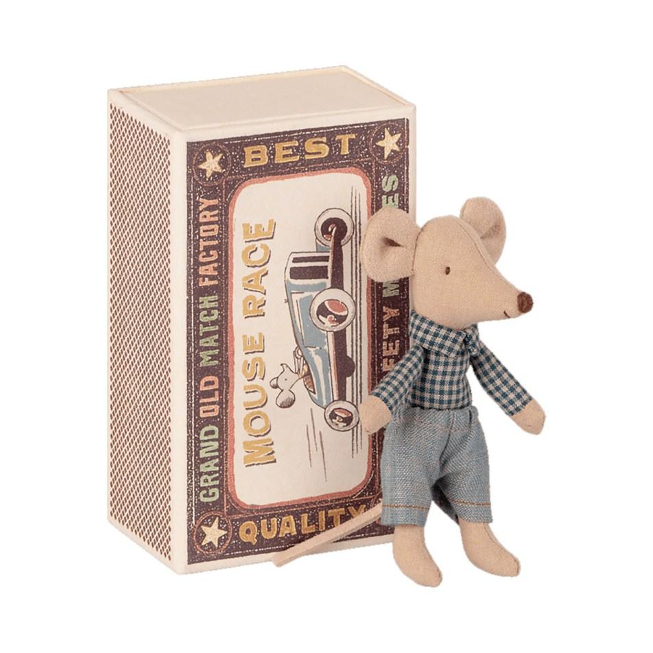 Mice in a Matchbox by Maileg Petite souris Petit Frère dans sa Boite d'allumette