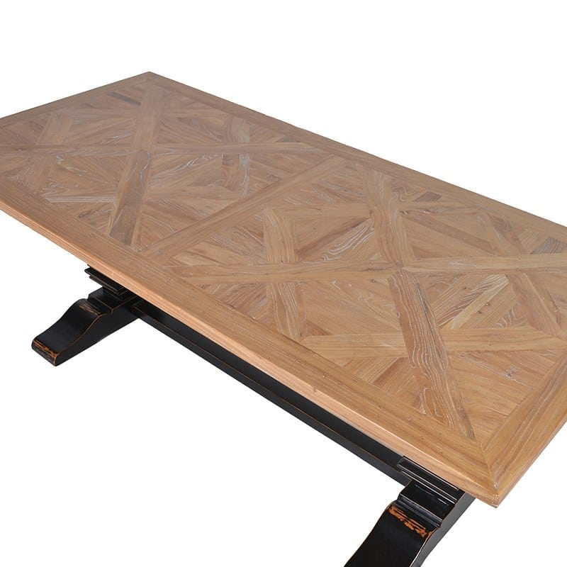 Parquet Top Dining Table With Black Painted Legs Furniture