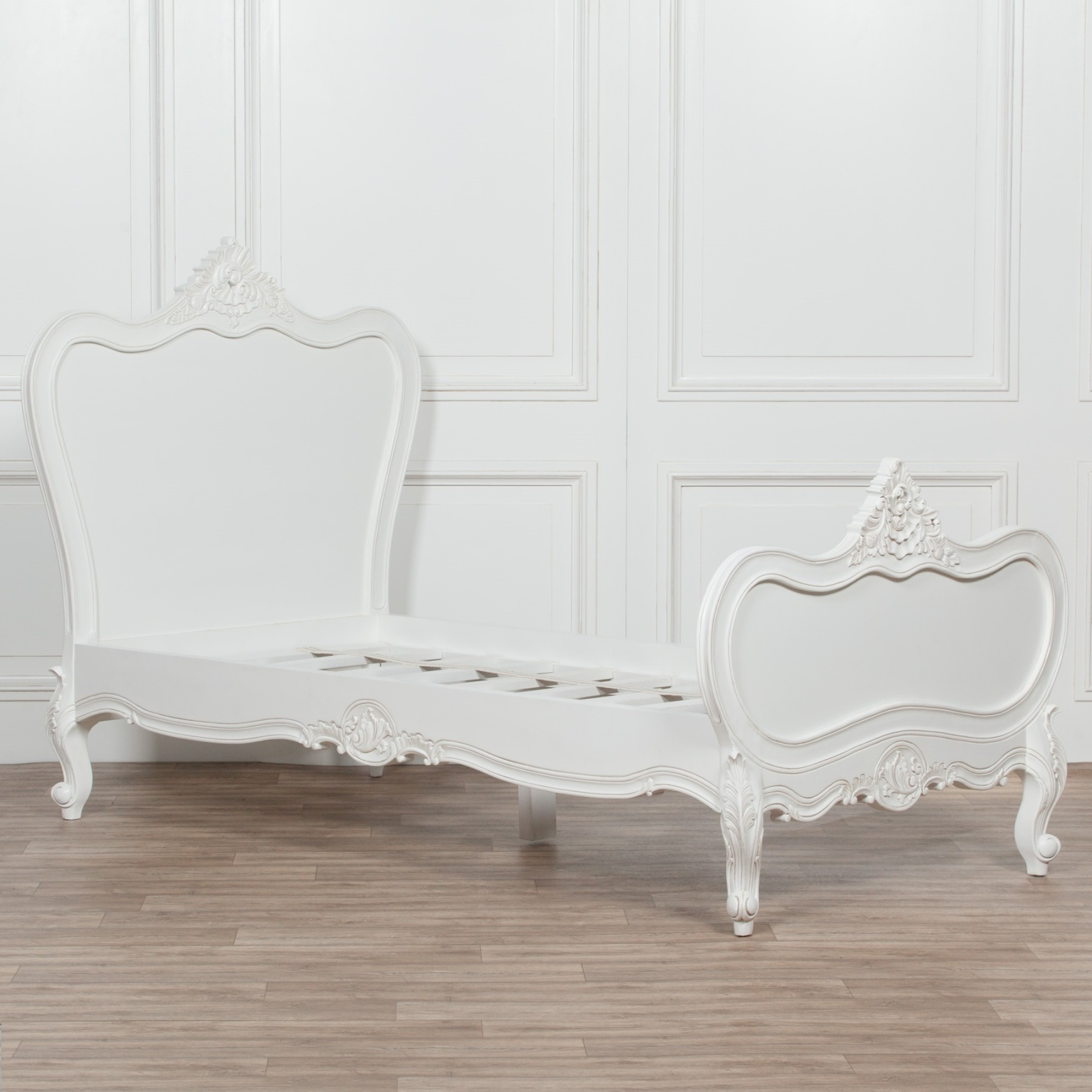 3ft French White Chateau Wooden Single Bed Furniture La Maison Chic Luxury Interiors