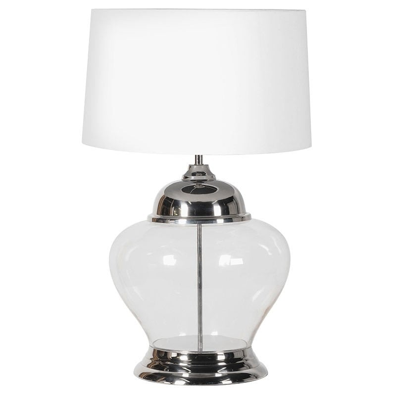Large Glass Table Lamp With White Shade Furniture La Maison Chic Luxury Interiors