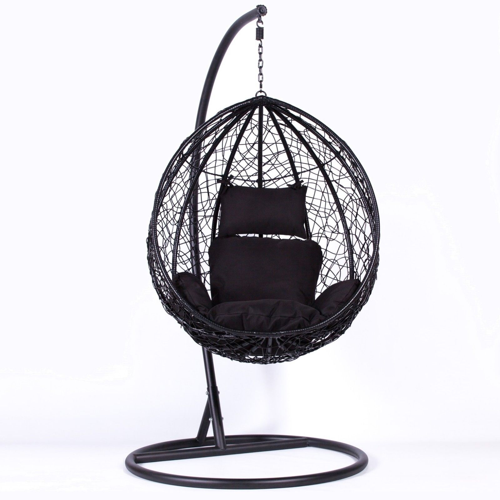 Rattan Black Swing Weave Patio Garden Hanging Egg Chair Furniture La Maison Chic Luxury Interiors