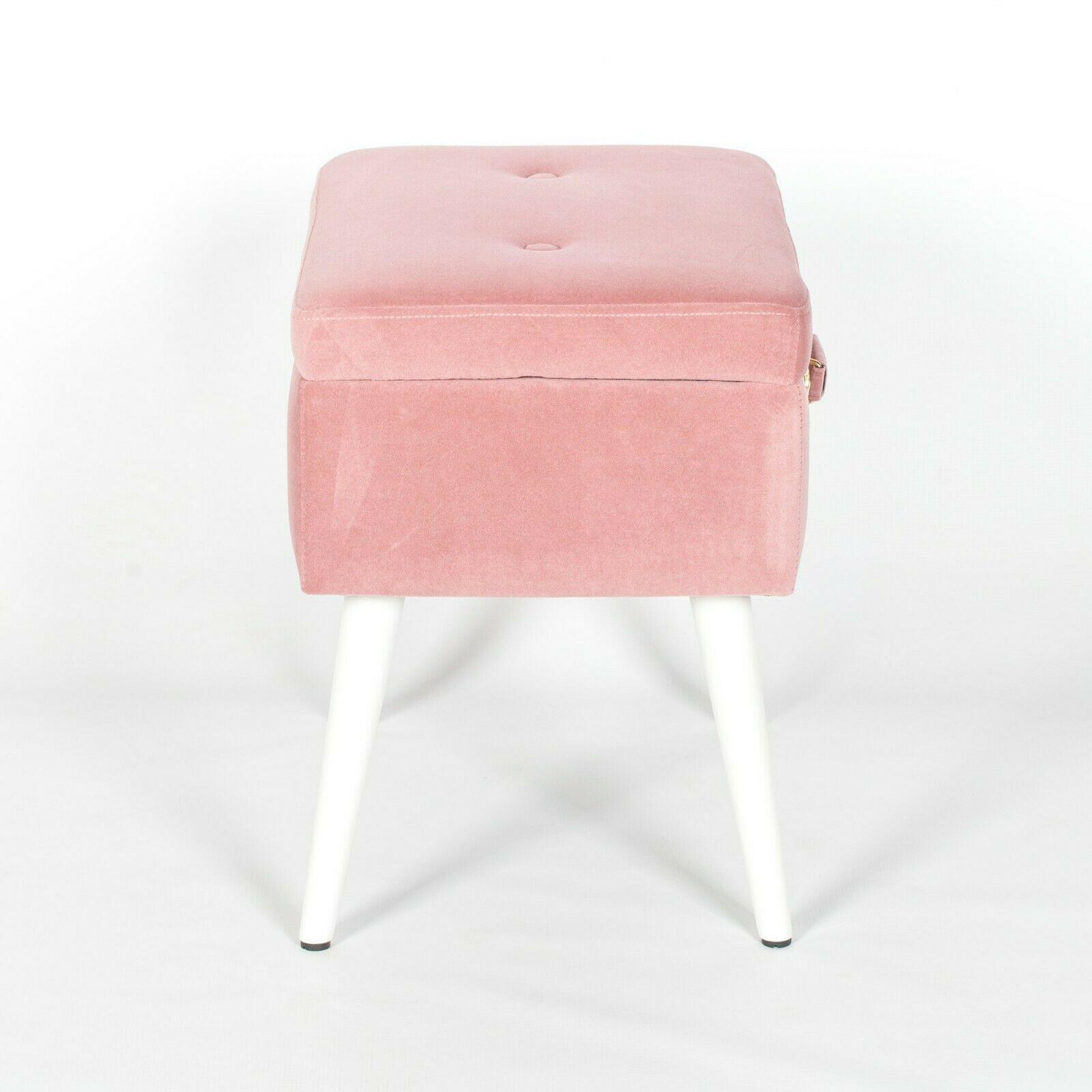 Amour Pink Velvet White Legs Upholstered Suitcase Bedroom
