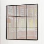 Black Metal Window Style 90cm Square Wall Mirror Furniture La Maison Chic Luxury Interiors