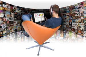 Man watching movie with headphone