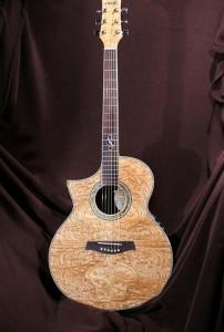 A brown guitar