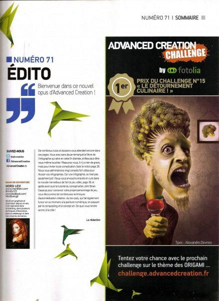 1er prix challenge15 Magazine Advanced Creation numéro 71, blog La retouche photo