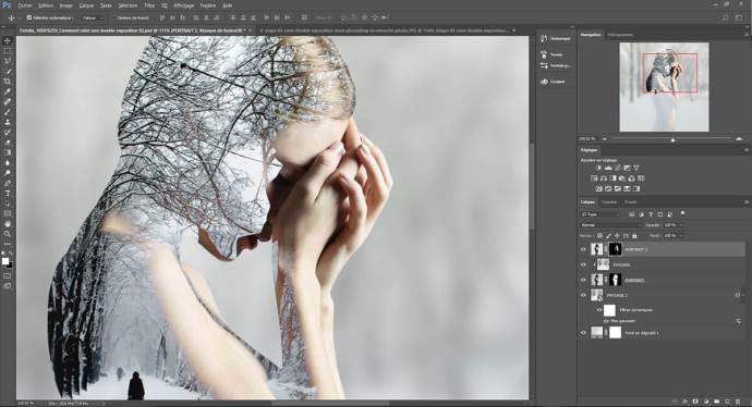 etape 03, créer une double exposition dans Photoshop
