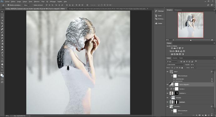 etape 04, créer une double exposition dans Photoshop