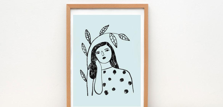 affiche-cadre-illustration-portrait-femme-depeapa