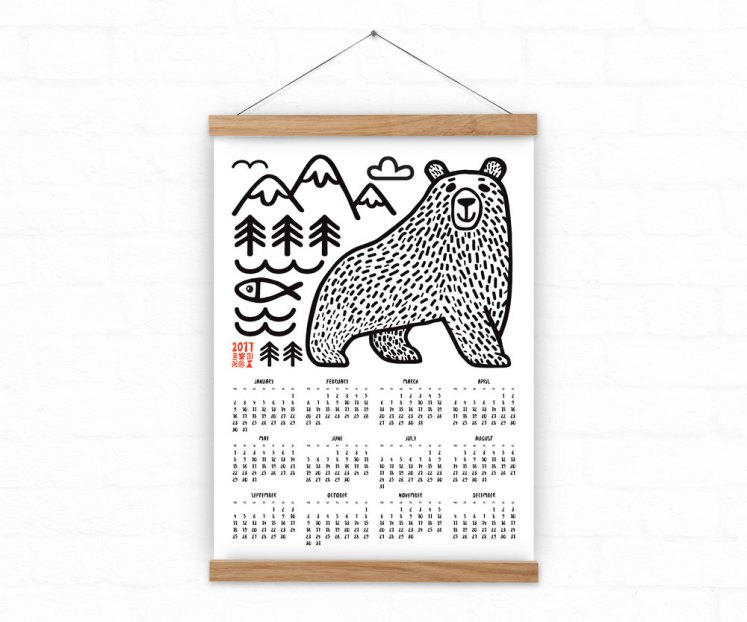 calendrier-mural-ours-illutration