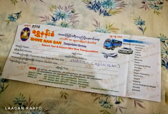 Bus ticket from Mandalay Airport to Mandalay Town