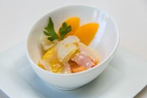 El Patio.- Tomates con bacalao y naranja.