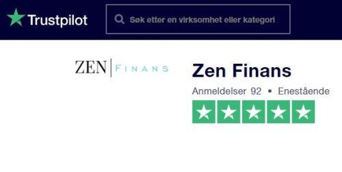 Trustpilot fem sterners anmeldelse av Zen Finans april 2020