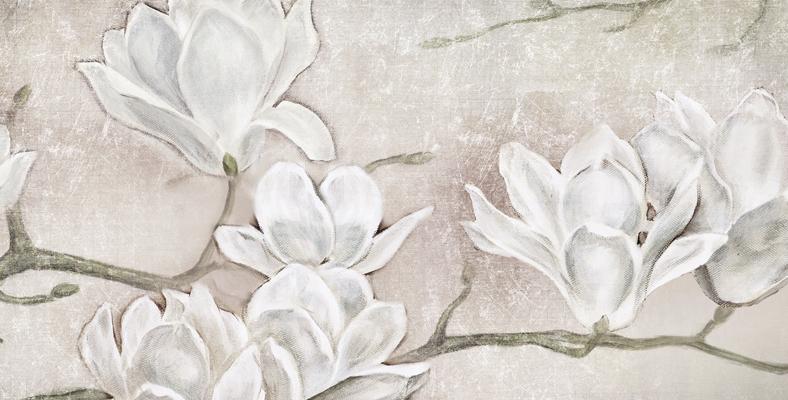 FLOWERS01 quadro moderno su tela con fiori floreale mannolie ...