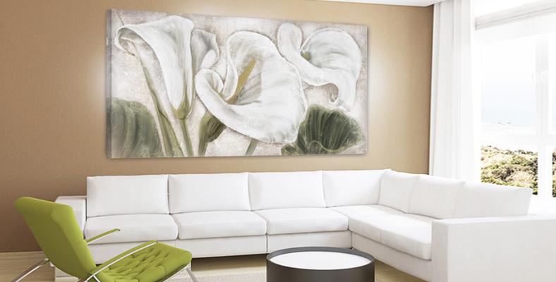 FLOWERS02 quadro moderno su tela con fiori floreale calle ...