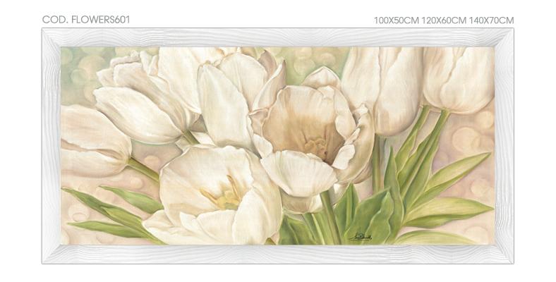 FLOWERS601 quadro moderno su tela con fiori floreale tulipani ...