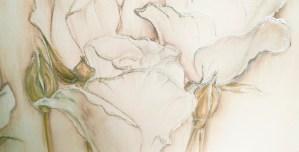 FLOWERS603 quadro moderno su tela con fiori floreale rose bianche