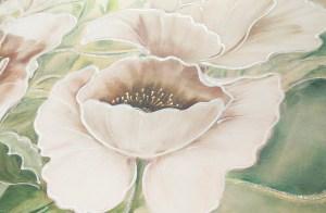 A003 Originale quadro moderno su tela con fiori papaveri bianchi