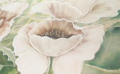 A003 Quadro moderno su tela con fiori, Papaveri bianchi