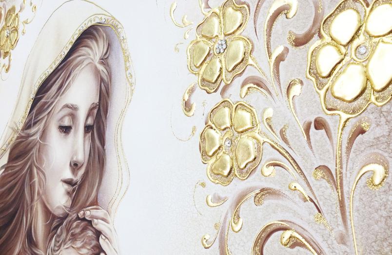 BASIC19-2 Capezzale quadro moderno su tela sacro Maternità madonna con bambino camera da letto - Dettaglio
