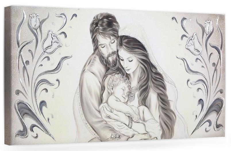 BASIC22 Capezzale quadro moderno su tela sacro Sacra Famiglia per la camera da letto