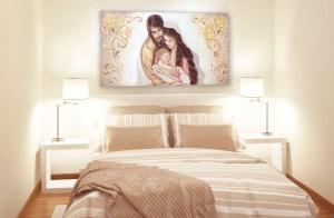 Capezzale quadro moderno su tela sacro Sacra Famiglia per la camera da letto ambientazione
